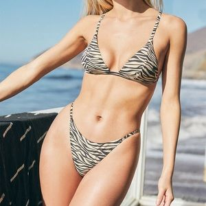 LA Hearts Zebra Bikini Top: S Bottom: L